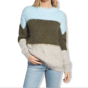 BP Striped Oversized Brushed Pullover Sweater